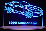 1995 Mustang GT Acrylic Lighted Edge Lit 13'' LED Car Sign Light Up Plaque 95 Full Size USA Original