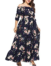 FEOYA Womens Plus Size Off The Shoulder Maxi Dress Floral Polka Dot Long Dress Summer Casual Boho Party Dress
