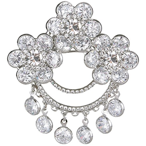 EleQueen Women's Silver-tone Round Cubic Zirconia Orchid Flower Wreath Dangling Charm Bridal Brooch Pin Clear Round Wreath Pin