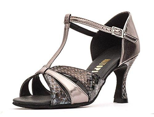"Ladies All Colours Social Ballroom Dance Shoes GINA 2.5"" Flare Heel By Topline Katz Dancewear Grey/Brown Python/Pewter PU"