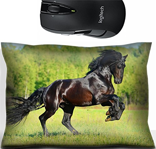 Liili Mouse Wrist Rest Office Decor Wrist Supporter Pillow IMAGE ID: 39369010 Black Friesian horse runs gallop in summer time