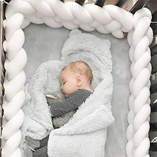 - Baby Crib Bumper Chunky Knit Braided Baby Bedding Sheets Plush Nursery Cradle Decor Newborn Gift Pillow Cushion Junior Bed Sleep Bumper (4 Strands,Widening)White 157 inch