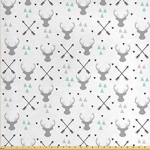 Lunarable Antlers Fabric by The Yard, Hunting Theme with Scandinavian Design Elements Arrows Triangles Deer, Decorative Fabric for Upholstery and Home Accents, 1 Yard, Grey Mint Green Black (Arrow Element)
