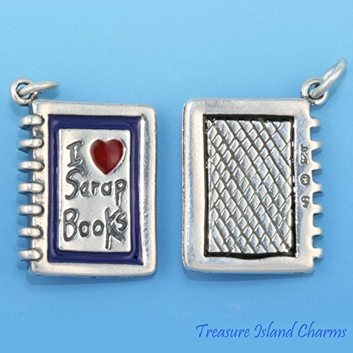 I LOVE SCRAPBOOKS SCRAP BOOK 3D .925 Solid Sterling Silver Charm SCRAPBOOKING Jewelry Making Supply Pendant Bracelet DIY Crafting by Wholesale Charms