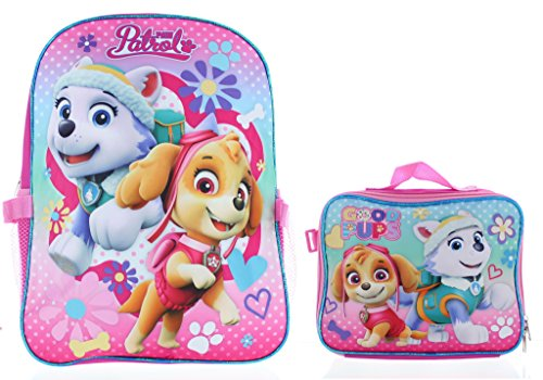 Skye Bag - Paw Patrol Girls 15 Inch Backpack with Lunch Kit - Skye and Everest to the Rescue