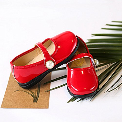 Toddler Girl Patent Leather Pearls Mary Jane Princess Dress Shoe Ballerina Flats Red Size 29 by LINKEY (Image #7)