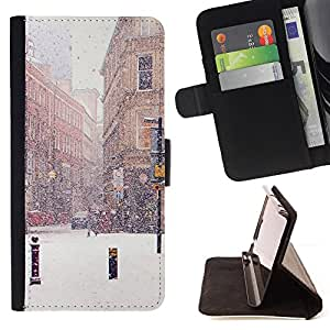 Jordan Colourful Shop - winter street snow christmas France For Apple Iphone 5C - Leather Case Absorci???¡¯???€????€????????&ce