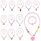 BAOQOSHAN 12 Sets Deluxe Girls Party Princess Necklace & Bracelet Jewelry Value Pack + Gift Box