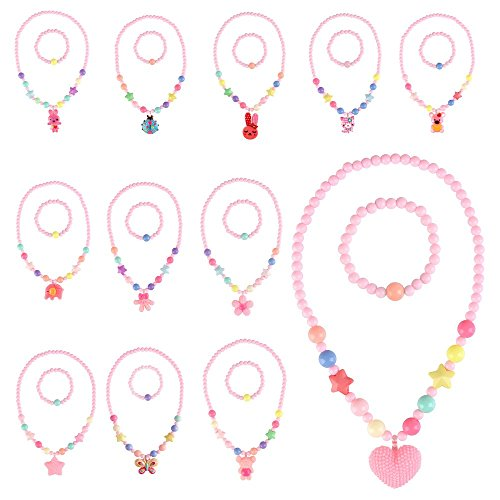 BAOQOSHAN 12 Sets Deluxe Girls Party Princess Necklace & Bracelet Jewelry Value Pack + Gift Box -