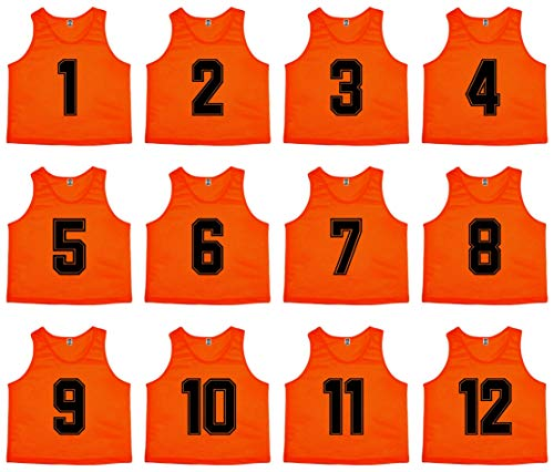(Oso Athletics Set of 12 Premium Mesh Numbered Scrimmage Vest Pinnies Team Practice Jerseys for Children, Youth, and Adult Sports Basketball, Soccer, Football, Lacrosse (Orange (#1-12), Adult))