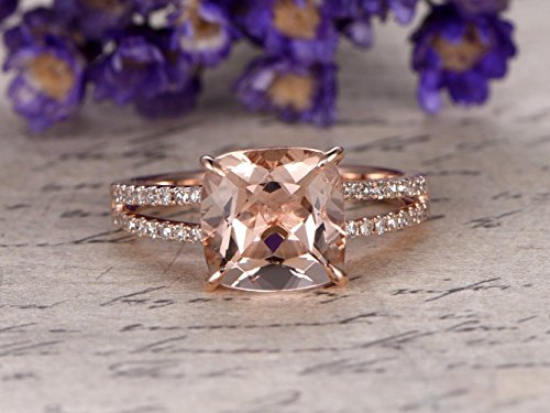 - 8mm Cushion Cut Pink Morganite Engagement Ring Solitaire Solid 14k Rose Gold Diamond Split Shank Wedding Band Bridal Ring Antique Women Anniversary Gift Claw Prong Peach Pink