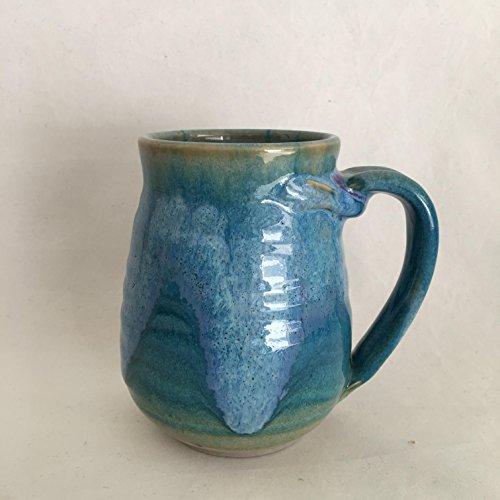 Green/Blue Ceramic Mug, Pottery Cup, Handmade Coffee Mug, 16 oz MJUL17GB3