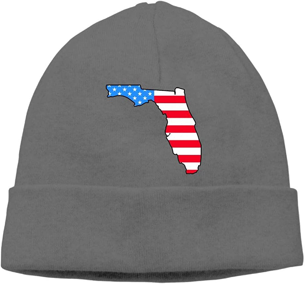 Wool Skull Cap BF5Y3z/&MA Unisex Florida Map USA Flag Knitted Cap