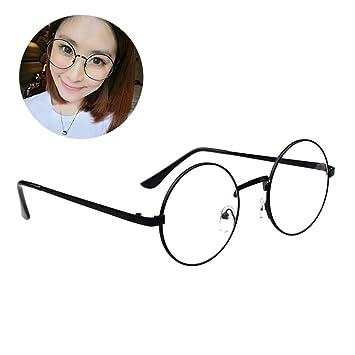 Retro Runde Brille Mit Fensterglas Damen Herren Brillenfassung xDoAc3D