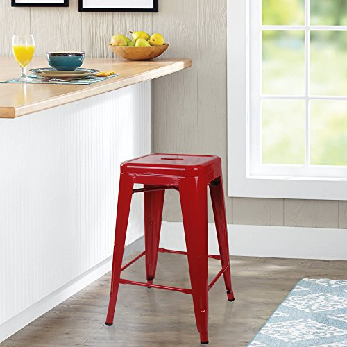 GIA Red 24″ Metal Stool(Set of 2) – Counter Height Square Backless – Tolix Style – Weight Capacity of 300+ Pounds – Ready to use – Extra Durable and Stackable
