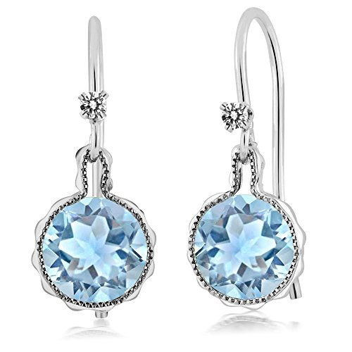 1.52 Ct Round Diamond (1.52 Ct Round Sky Blue Aquamarine White Diamond 925 Sterling Silver Earrings)