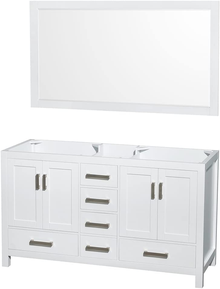 Wyndham Collection Sheffield 60 inch Double Bathroom Vanity in White, No Countertop, No Sinks, and 58 inch Mirror