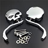 Key-Sun Pair Skull Skeleton side Mirrors for Universal Motorcycle Cruiser Chopper Chrome