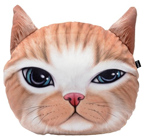 Cute 3D Stuffed Plush Cat Head Shape Pillow Soft Chair Sofa Back Cushion Throw Pillow Home Decoration 14x12