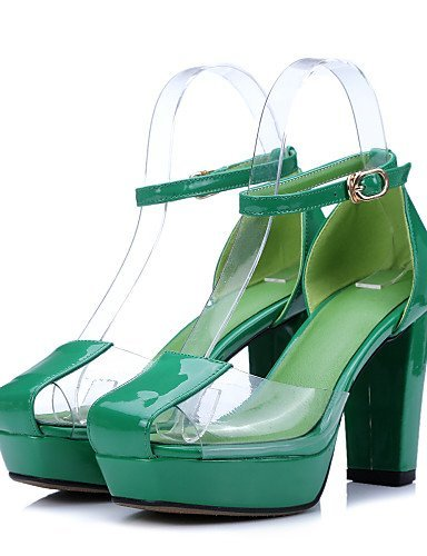 ShangYi Womens Shoes Chunky Heel Heels / Platform / DOrsay & Two-Piece Sandals Party & Evening / Dress / (Genuine leather) Green
