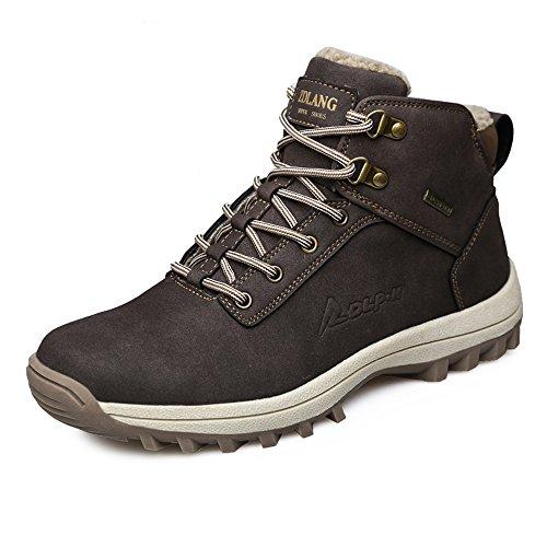 Botas Yzhyxs Para Hombre Zapatos De Excursionismo Al Aire Libre De Cuero Impermeables De Invierno Café Café Negro