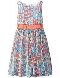Little Girls Multi Print Chiffon Dress, Bonnie Jean, Coral, 5