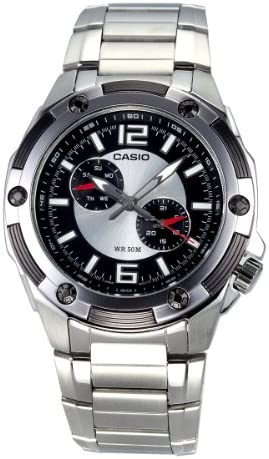 Casio Men s MTP1326D-1A1V Silver Stainless-Steel Quartz Watch with Black Dial