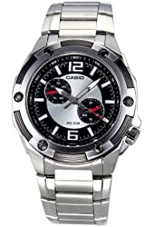 Casio Men's MTP1326D-1A1V Silver Stainless-Steel Quartz Watch with Black Dial