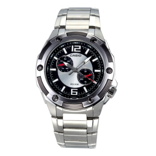 Casio Men's MTP1326D-1A1V Silver Stainless-Steel Quartz Watch with Black Dial by Casio