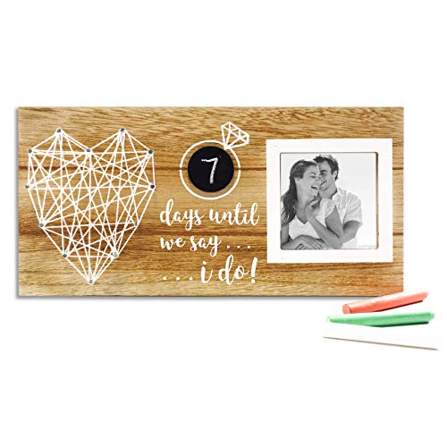 VILIGHT Unique Engagement and Bridal Shower Gifts for Couples - Rustic Engaged Picture Frames for Bride and Groom to Be Wedding Day Countdown - 3x3 Photo (Engagement Unique Ideas Gift)