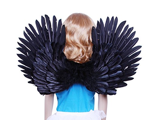 Black And White Costume Duos (Children's Boy Girl White Feather Angel Wings Duo Use Pointing up or Down (Black))