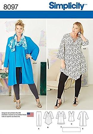Simplicity Damen Schnittmuster 8097 Tunika, Top, Kimono & Leggings ...