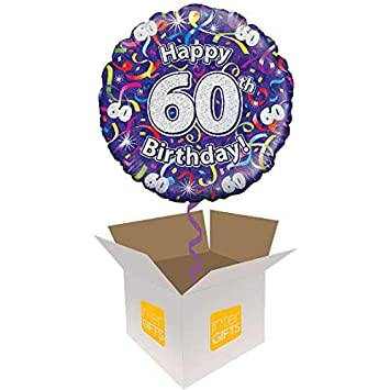 InterBalloon Helium Inflated Happy 60th Birthday Purple Streamers Balloon Delivered In A Box Amazoncouk Toys Games