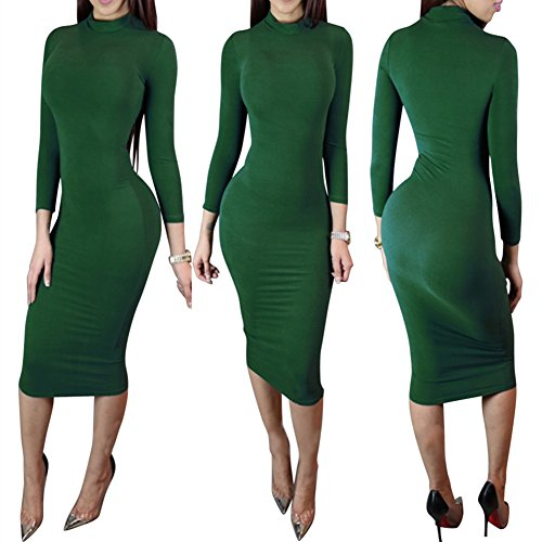 Bess Bridal Women Turtleneck Long Sleeve Stretch Christmas Party Club Midi Dress,Small,Green