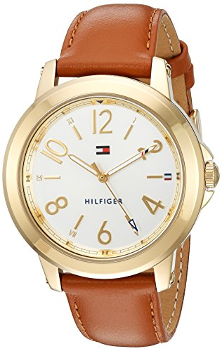 Tommy Hilfiger Women's 'Sport' Quartz Gold-Tone and Leather Casual Watch, Color Brown (Model: 1781754)