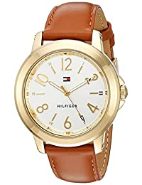 Tommy Hilfiger Women's 'Sport' Quartz Gold-Tone and Leather Casual Watch, Color:Brown (Model: 1781754)