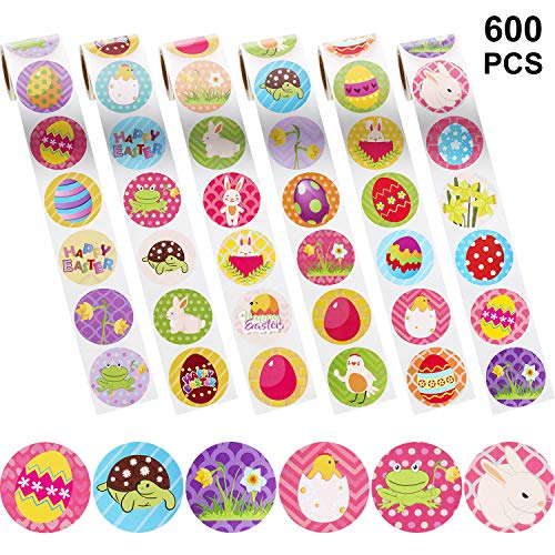 Chuangdi 600 Pieces Easter Stickers, Assorted Easter Theme Stickers with Easter Bunny, Egg, Chicks, Daffodils, Frogs, Turtles Patterns Stickers Labels for 36 Design for Easter Party Favors, 6 Rolls