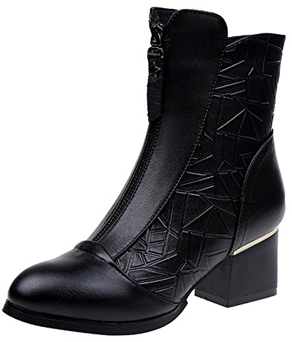 Heels Boots High Block Side With Mid Women's Ankle Toe Easemax Dressy Black Zipper Pointy Martin q8Iw4v