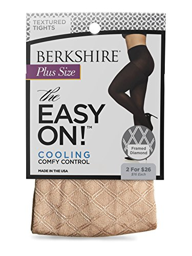 Tights Lurex Gold (Berkshire Women's Plus-Size The Easy On Framed Diamond Tights, Pale Gold, 1X-2X)