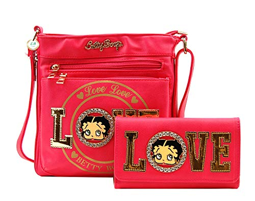 Betty Boop Premium Cross Body Bag and Wallet Set, LOVE and Logo (Rose)