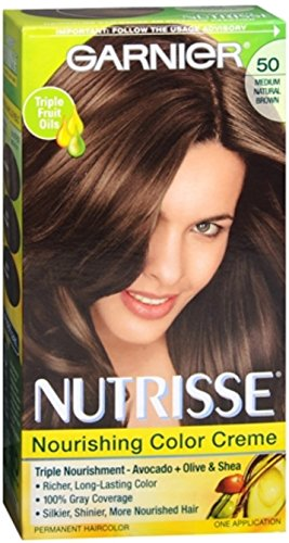 Garnier Nutrisse Nourishing Hair Color Creme 50 Medium Natural Brown Truffle  Packaging May Vary