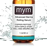 Derma Roller Cellulite MyM Copper Peptide Serum with Apple Stem Cell and Argireline, 1 oz/30 ml