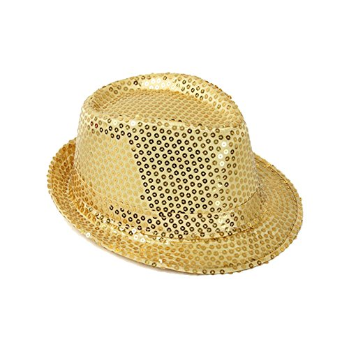 (Piece/12 Pieces) Opromo Sequins Trilby Fedora Cap Jazz Dancing Performance Hat GOLD-ADULT (Gold Sequin Fedora Adult Hat)