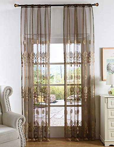 Aside Bside Elegance Sheer Curtains Floral Embroidered Rod Pocket Transparent Treatment Drapers for Living Room & Bedroom(1 Panel, W 50 x L 90 inch, Brown) ()
