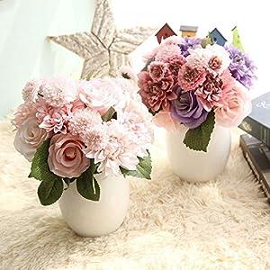 XGM GOU Silk Flower Roses Artificial Flowers for Wedding Decoration Silk Dahlia Hybrid Flower for Home Decor Fall Vivid Fake Leaf Flower 14