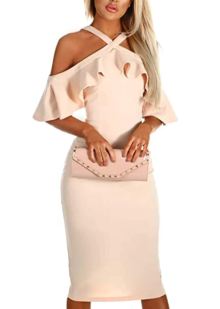 BTFBM Women Elegant Ruffle Off Shoulder Crossover Club Party Cocktail Bodycon  Midi Dress (Apricot 8cd1d49ab