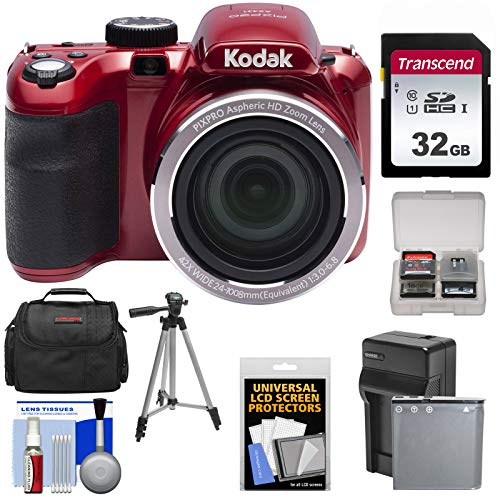 KODAK PIXPRO AZ421 Astro Zoom Digital Camera (Red) with 32GB Card + Case + Battery/Charger + Tripod + Kit