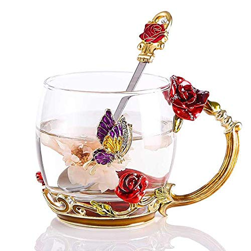 WRANKO Flower Glass Tea Cups Unique Gifts Wedding Anniversary Birthday Presents for Women Mom Girls - Small Present