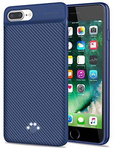 [Upgraded] iPhone 8 Plus/7 Plus Battery Case, Emishine 4000 mAh Ultra Slim Rechargeable External Battery Portable Power Charging Case for iPhone 8 Plus/7 Plus/6 Plus/6S Plus(5.5-Blue)
