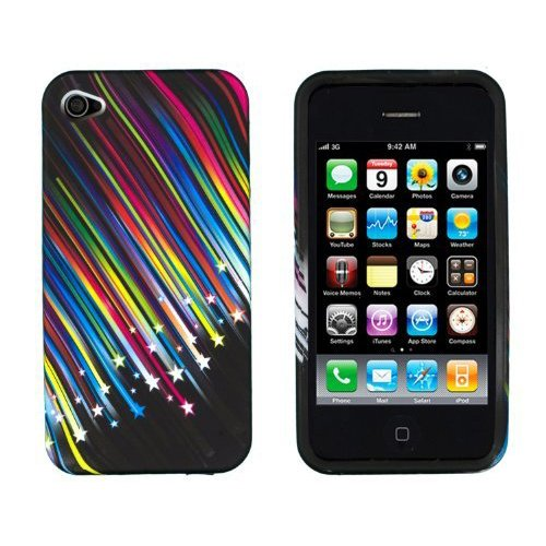 SODIAL(R) Schiessen Sterne Flexibles TPU Gel Case fuer Apple iPhone 4, 4S (AT & T, Verizon, Sprint)